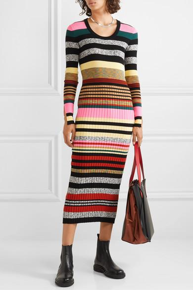 KENZO | Striped ribbed knit midi dress | NET A PORTER.COM