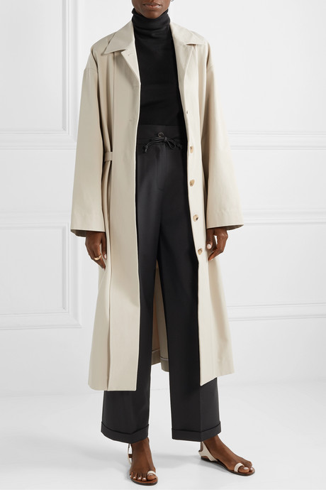 Cotton-blend twill trench coat