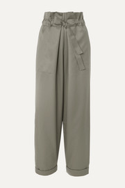 Wool-twill tapered pants