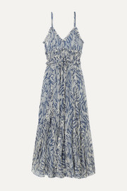 Lee Mathews Zola ruffled printed silk-crepon midi dress