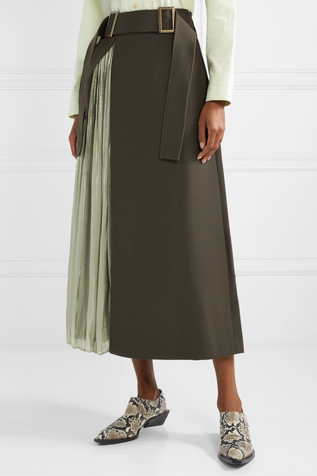 Evie paneled wool-blend twill and pleated satin skirt