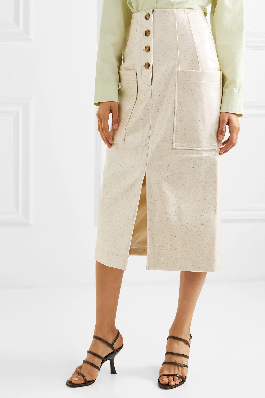 REJINA PYO Carmen button-embellished coated wool-blend midi skirt