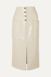 Carmen button-embellished coated wool-blend midi skirt