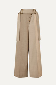 Stevie belted color-block wool-blend wide-leg pants