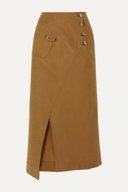 Astrid cotton-blend twill midi skirt