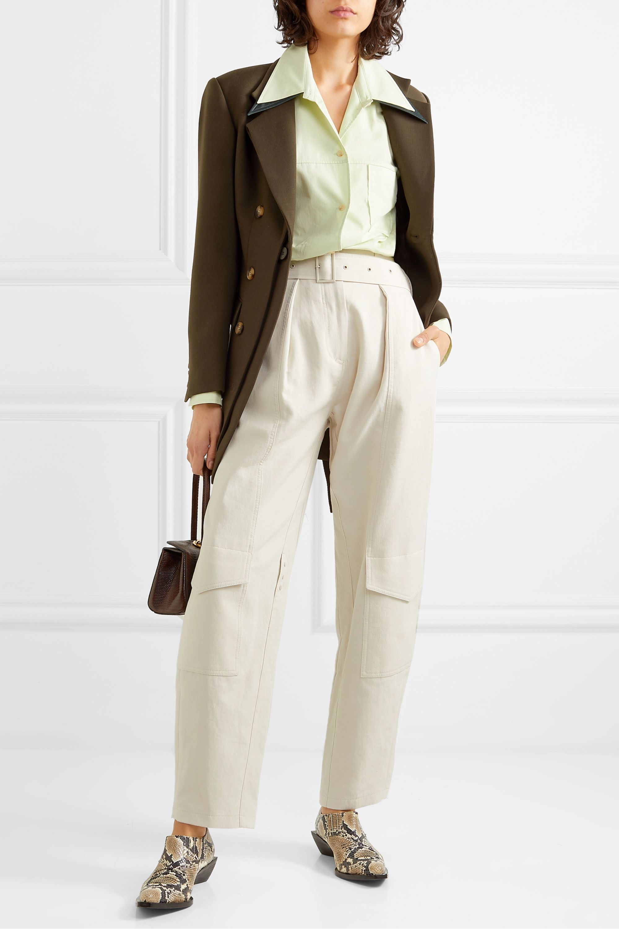 REJINA PYO Elliot belted double-breasted layered wool-blend twill blazer