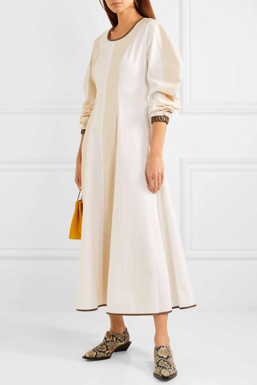 REJINA PYO Maren faux leather-trimmed herringbone cotton maxi dress