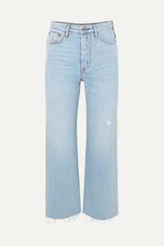 Bobbi cropped distressed high-rise bootcut jeans