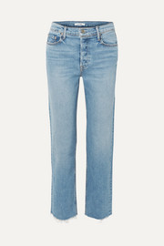 Helena cropped frayed high-rise straight-leg jeans