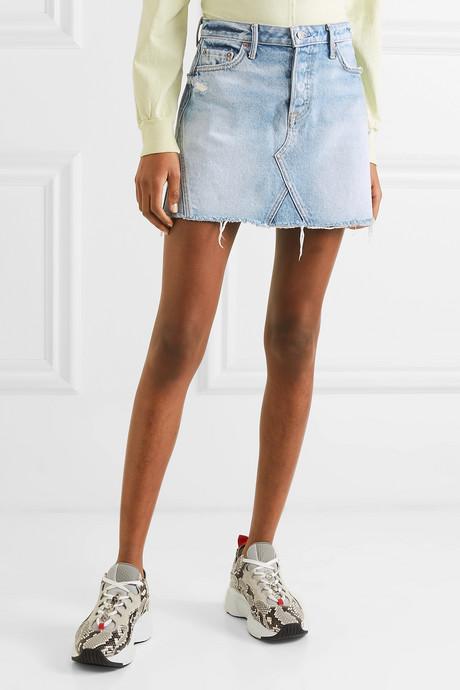 Eva distressed denim mini skirt