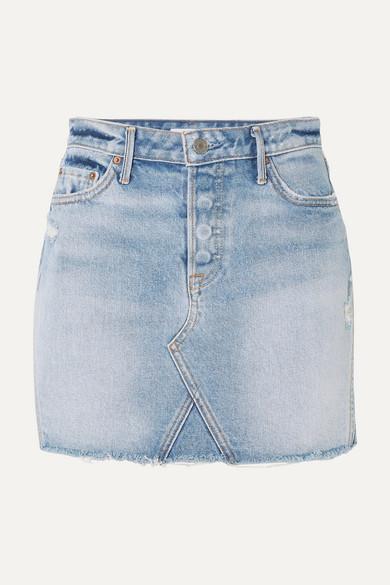 GRLFRND DENIM | GRLFRND - Eva Distressed Denim Mini Skirt - Light Denim | Goxip