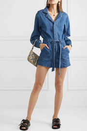 Tianna belted denim playsuit