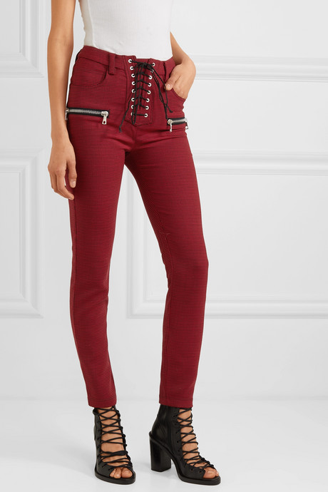 Lace-up houndstooth woven skinny pants