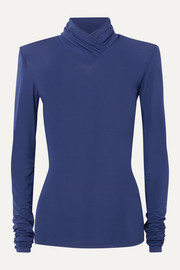 Unravel Project Ruched stretch-jersey turtleneck top