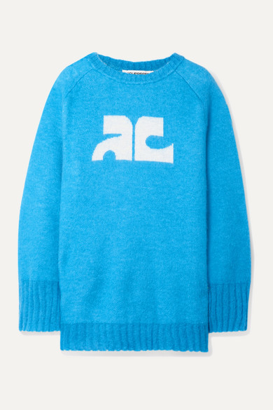 CourrÈGes Intarsia Knitted Sweater In Azure