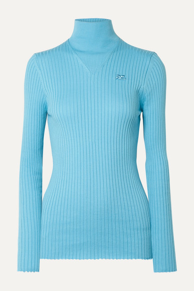 CourrÈGes Ribbed Cotton Turtleneck Sweater In Light Blue