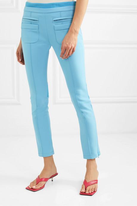 Cropped appliquéd stretch-gabardine skinny pants