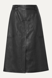 COURREGES Belted leather skirt