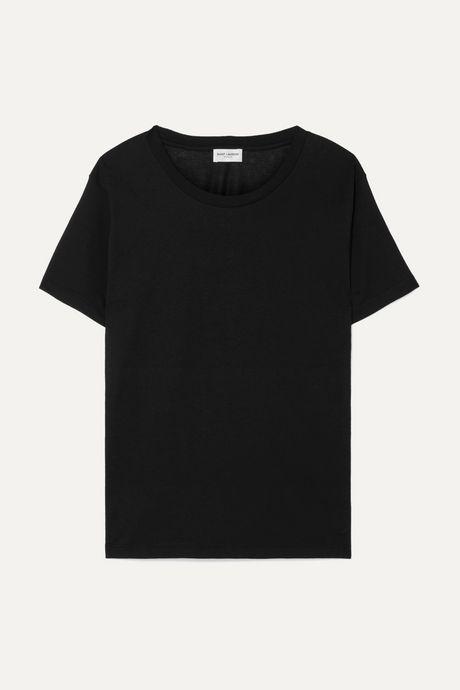 Black Essentials appliquéd cotton-jersey T-shirt | SAINT LAURENT kfJS4J