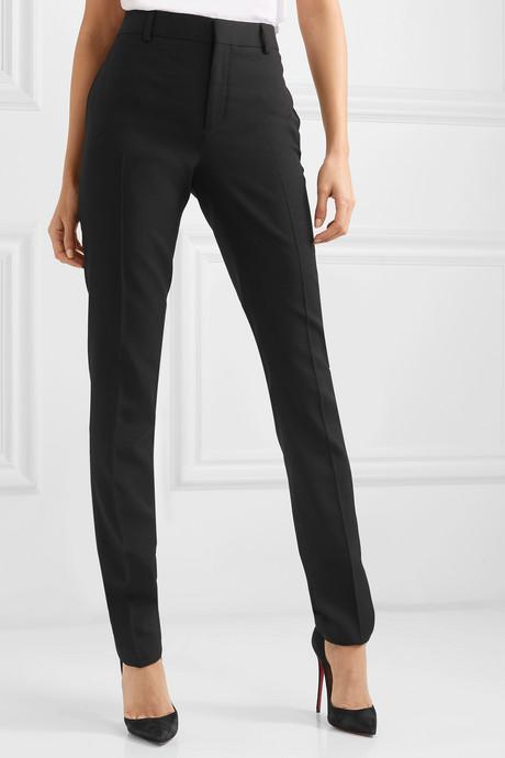 Wool-gabardine slim-leg pants