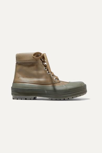 les-meuniers-hautes-rubber-trimmed-leather-ankle-boots by jacquemus