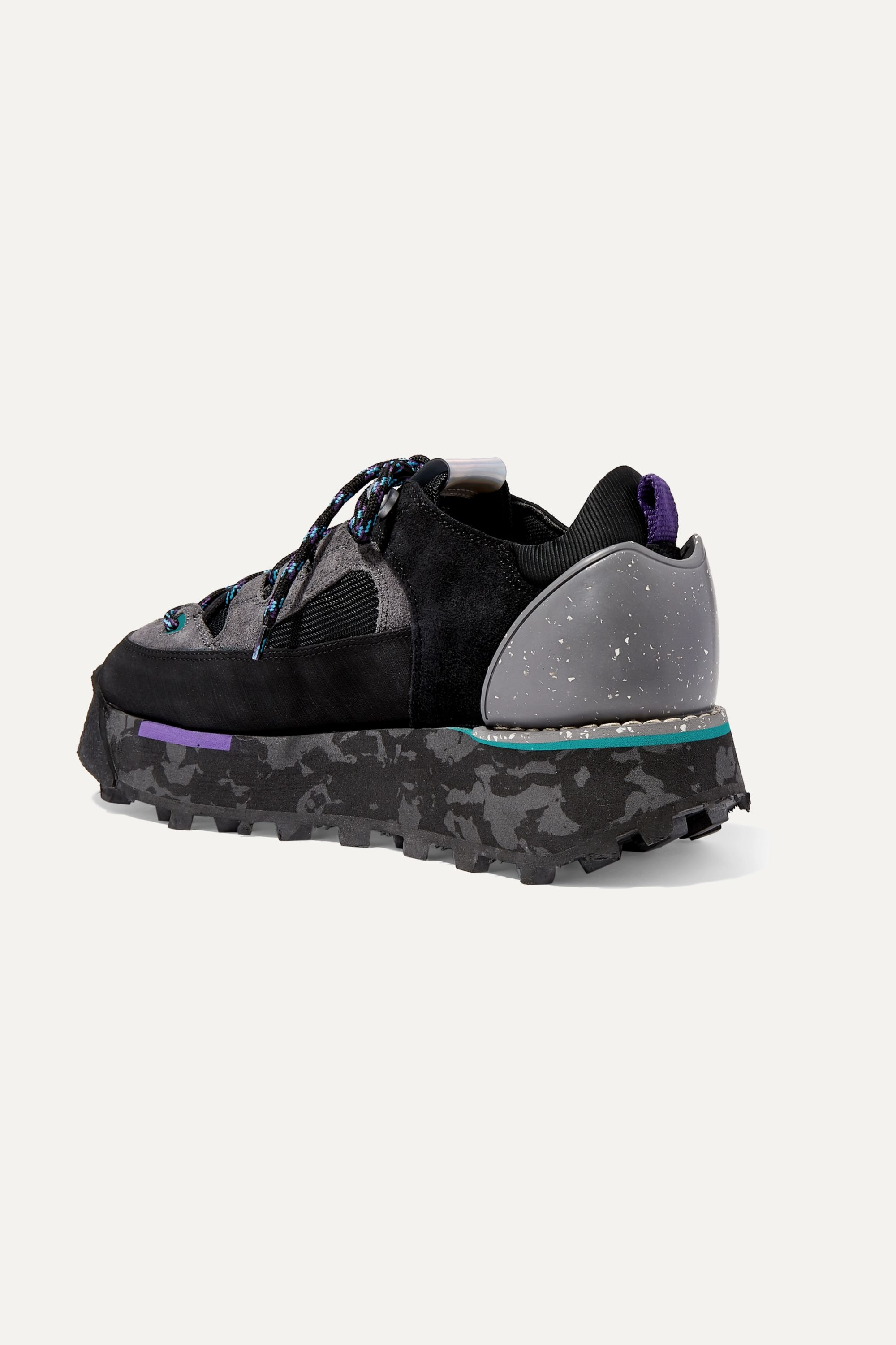 Acne Studios Printed leather, suede and neoprene sneakers