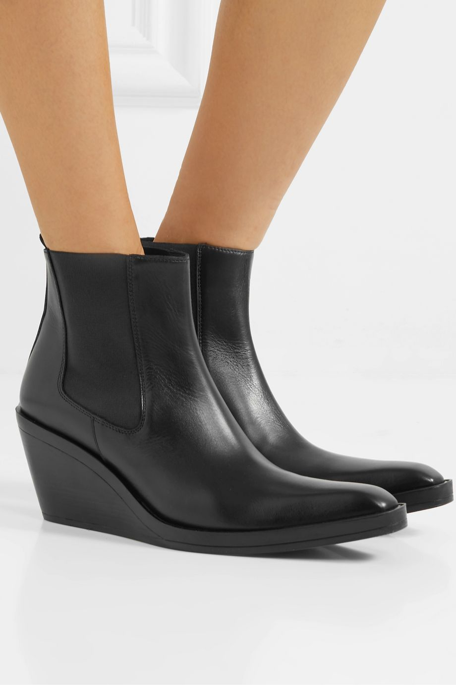 Acne Studios Leather wedge ankle boots