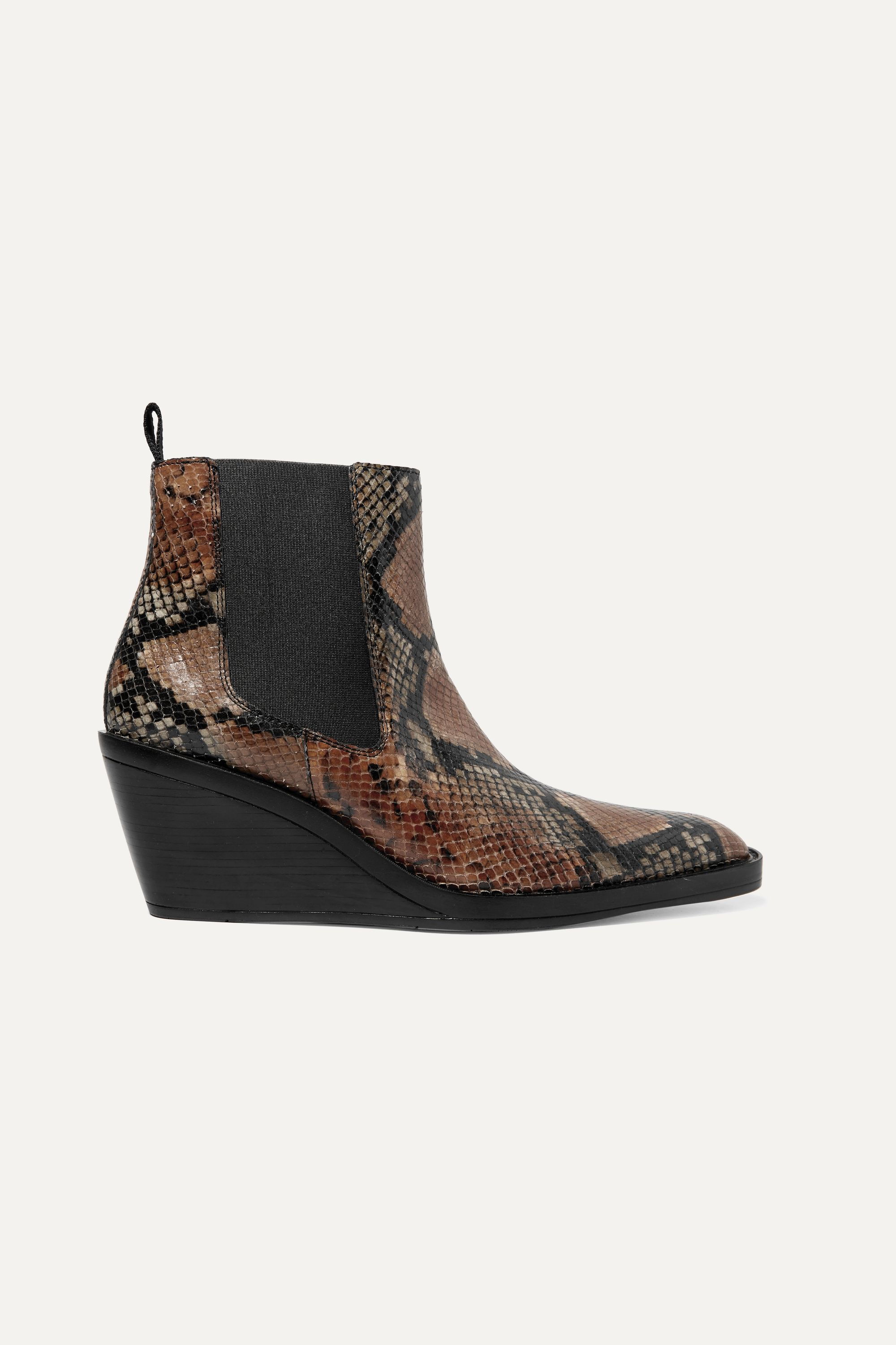 Acne Studios Snake-effect leather wedge ankle boots