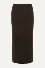 Ribbed cashmere midi skirt