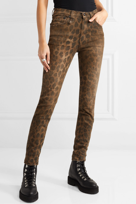 Distressed leopard-print high-rise skinny jeans