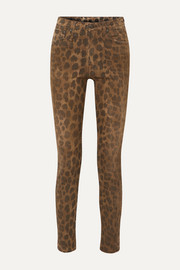 Distressed leopard-print high-rise skinny jeans