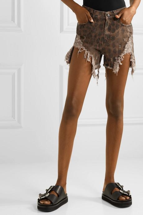 Distressed leopard-print denim shorts