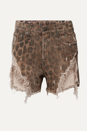 Distressed leopard-print denim shorts