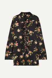 R13 Ruffled floral-print silk-satin blouse