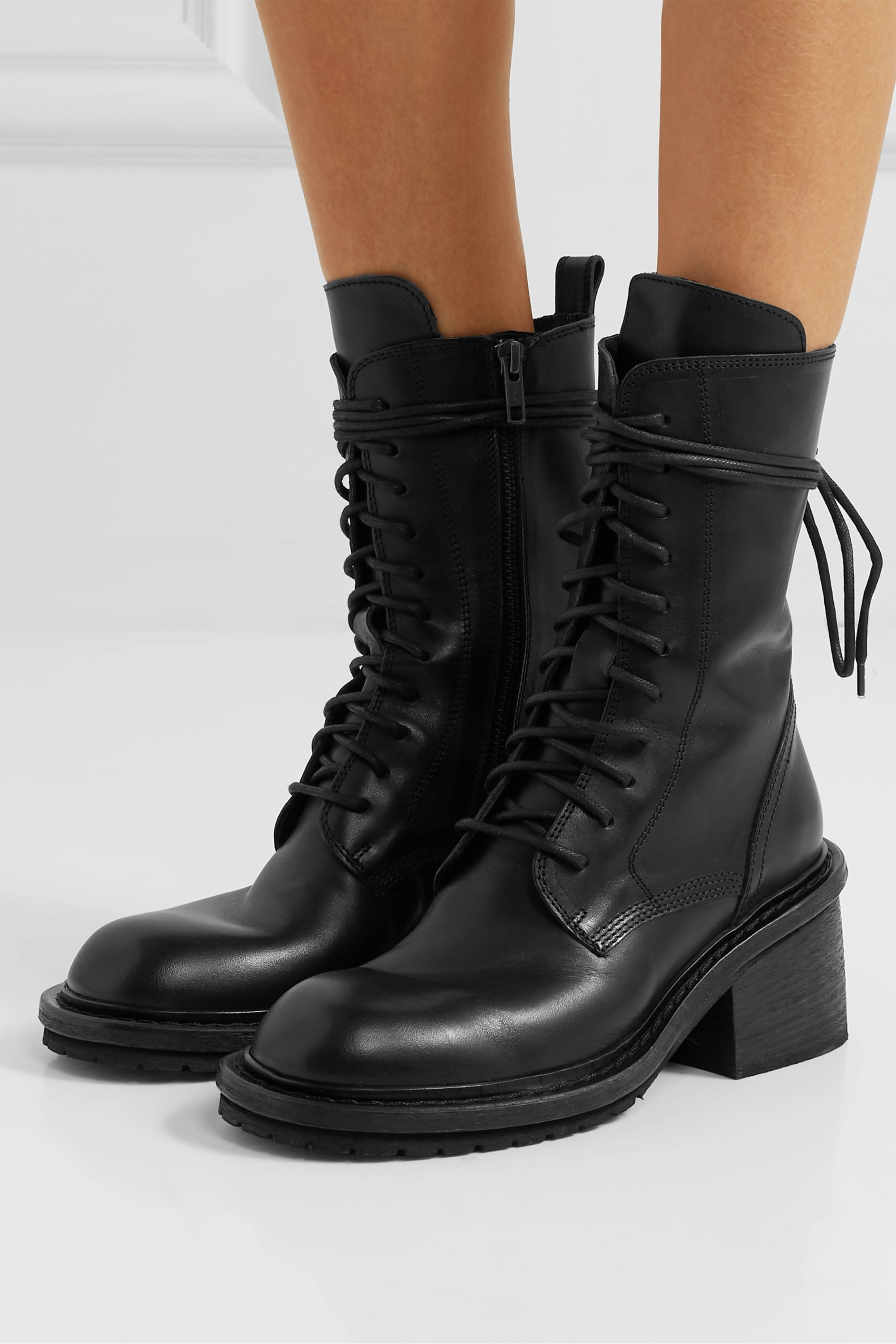 Black Lace-up leather ankle boots | Ann