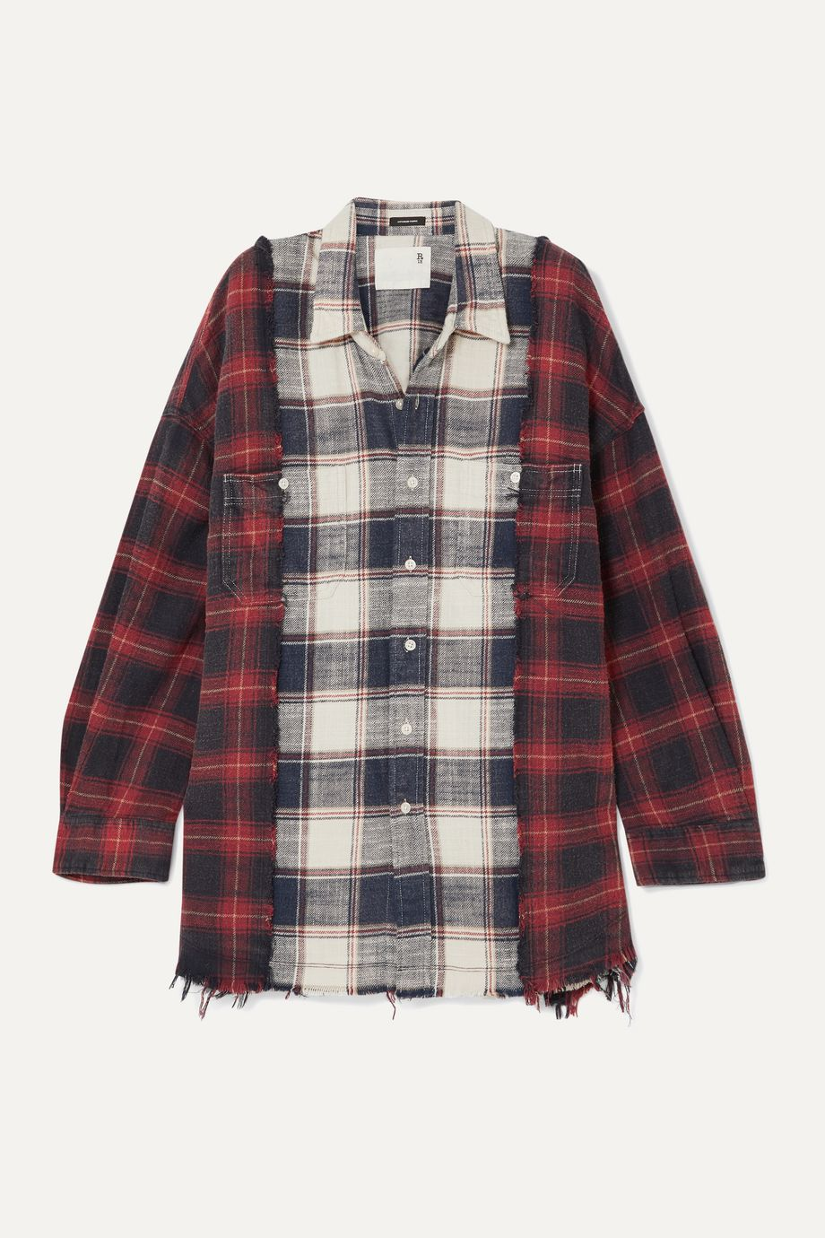 R13 Oversized frayed checked cotton-flannel shirt