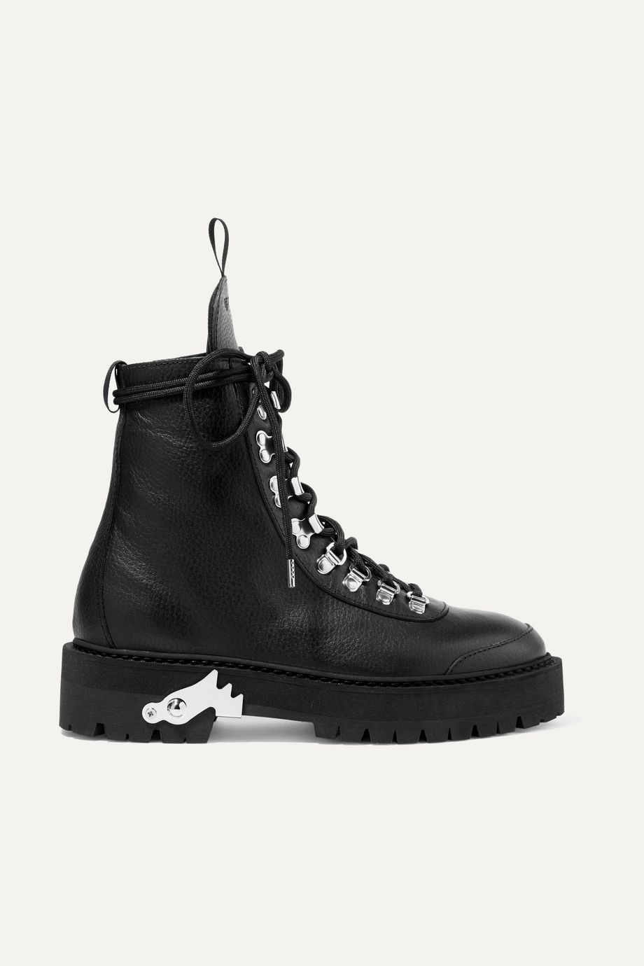 Off-White Hiking textured-leather ankle boots