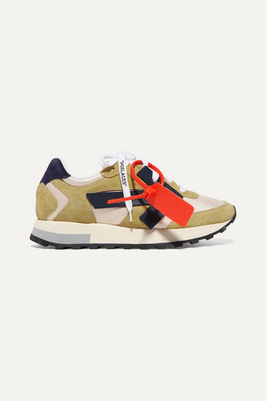 Off-White Hg Runner AppliquÉD Suede And Shell Sneakers In Beige