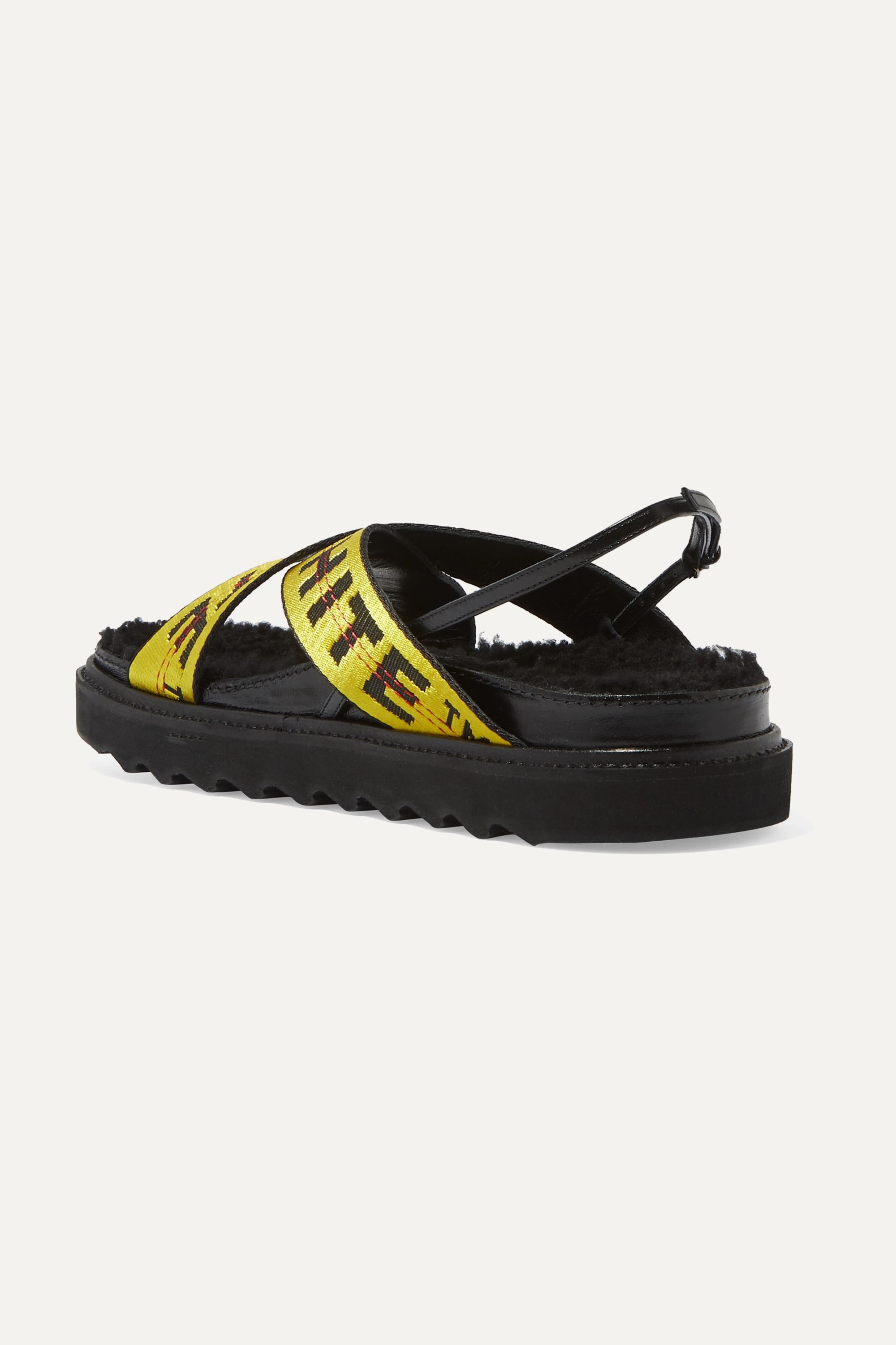 Off-White Shearling-trimmed canvas-jacquard and patent-leather sandals