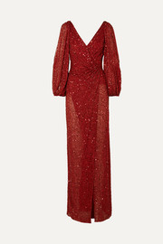 Jenny Packham Ida gathered embellished georgette gown