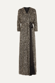 Jenny Packham Ada sequined georgette wrap gown