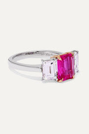 Platinum and 18-karat gold, ruby and diamond ring