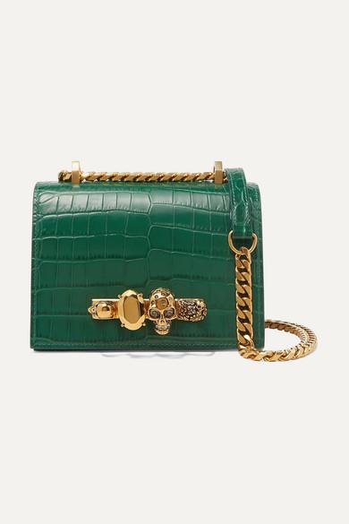Jewelled Satchel Small Embellished Croc Effect Leather Shoulder Bag by Alexander Mc Queen