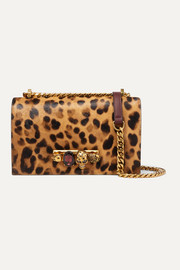 Jewelled Satchel embellished leather and leopard-print calf-hair shoulder bag