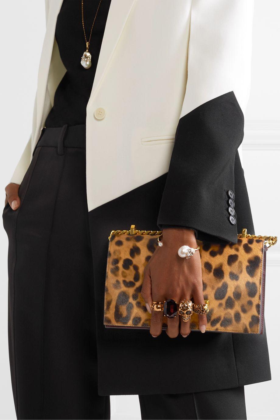 Alexander McQueen Jewelled Satchel embellished leather and leopard-print calf-hair shoulder bag