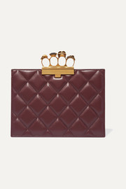 Knuckle embellished quilted leather clutch
