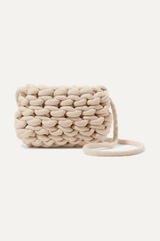Woven cotton shoulder bag
