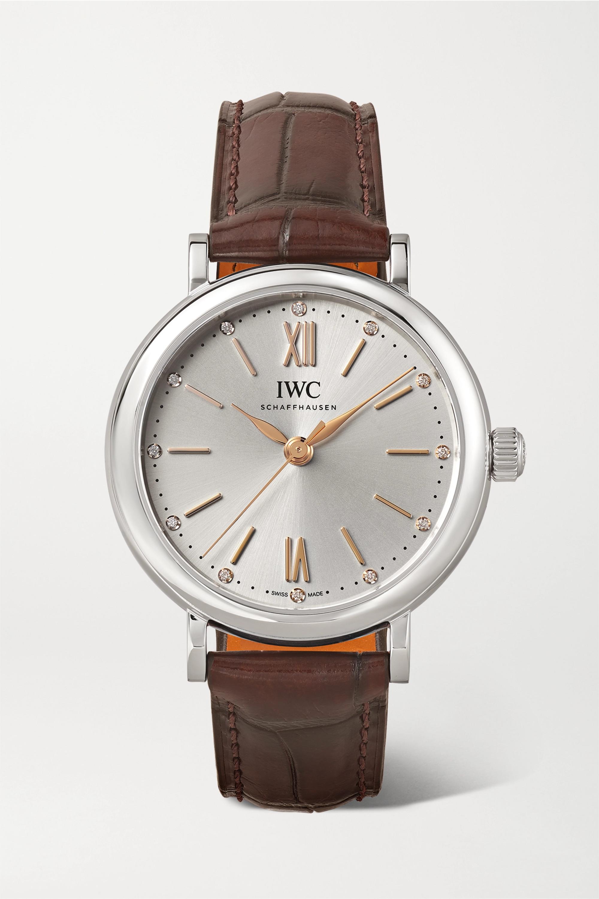 IWC SCHAFFHAUSEN Portofino Automatic 34mm stainless steel, alligator and diamond watch