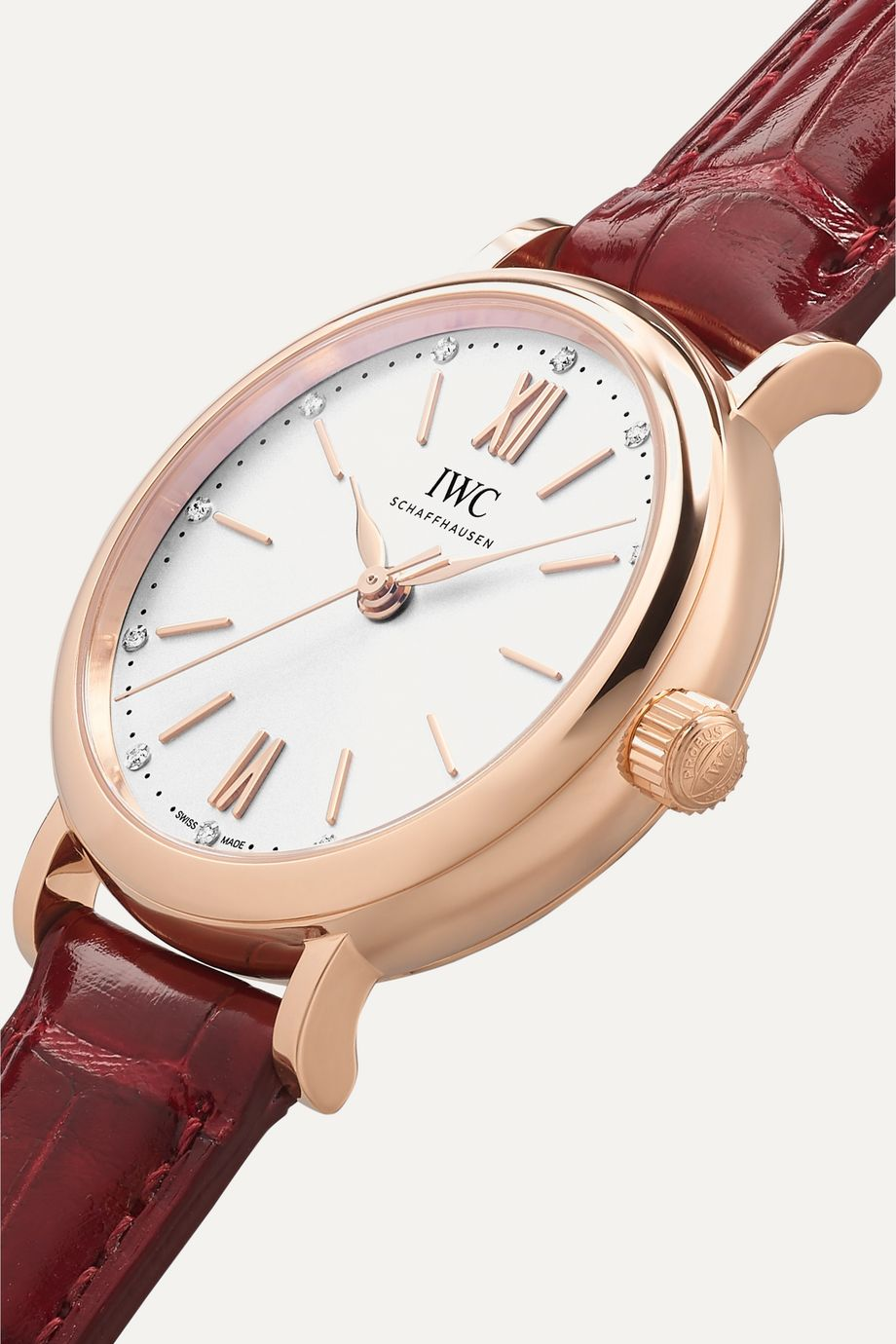 IWC SCHAFFHAUSEN Portofino Automatic 34mm 18-karat red gold, alligator and diamond watch