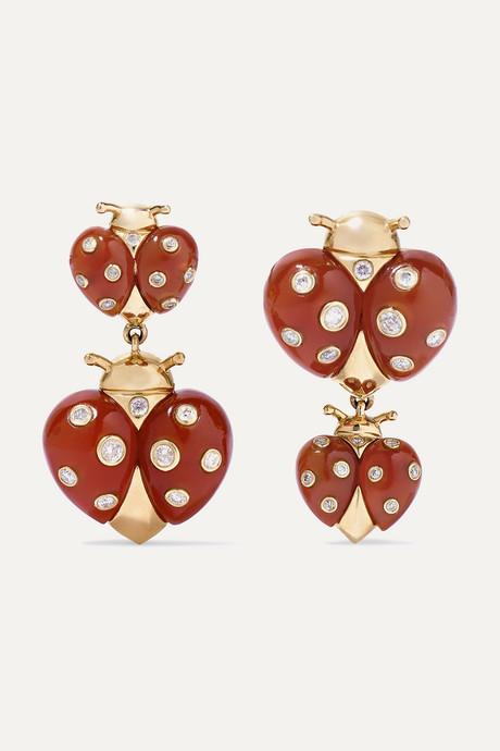 Gold 18-karat gold, agate and diamond earrings | Yvonne Léon fBL87b